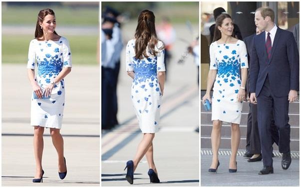 платье LK Bennett синие маки миддлтон