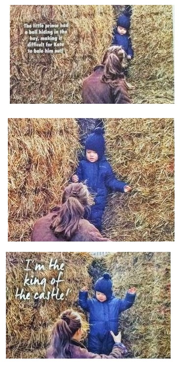 kate and george playing in the hay