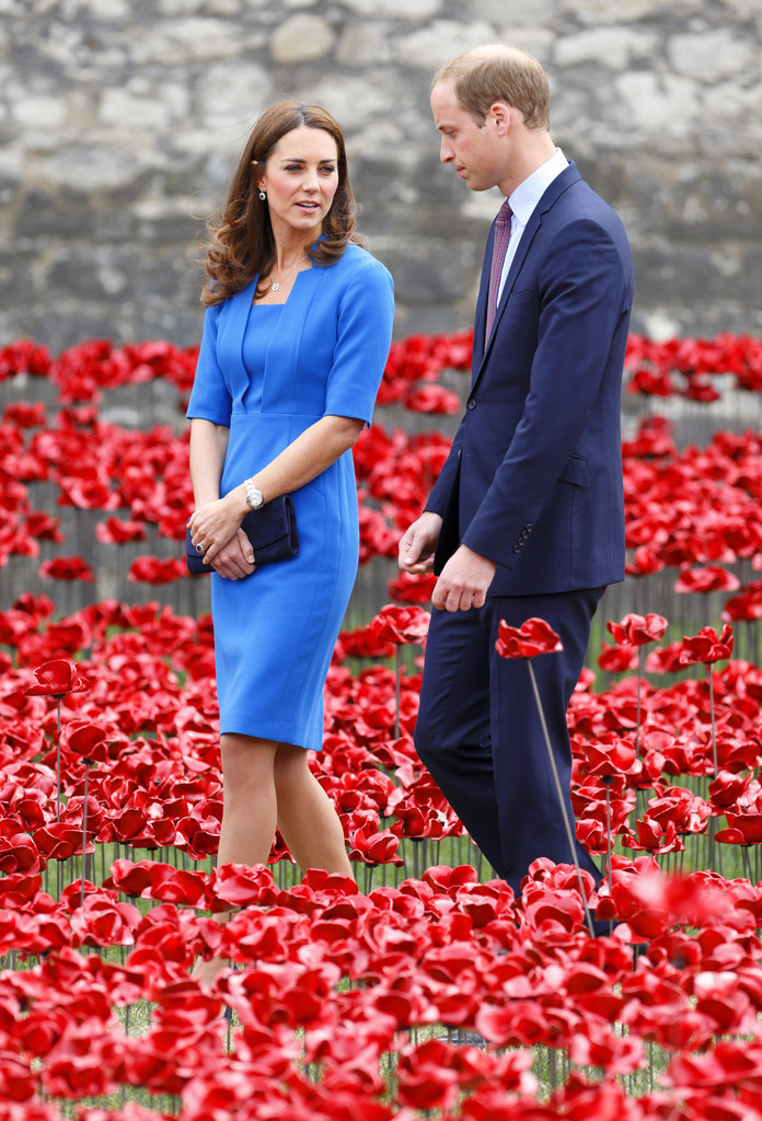 Kates-Dark-Blue-Clutch-Matched-Williams-Suit-Amidst-Bright-Poppies
