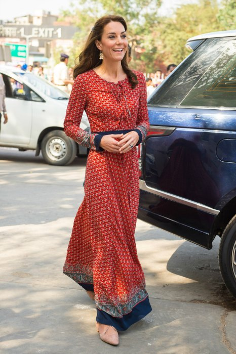 The Duchess of Cambridge arrives at the contact centre run by the charity Salaam Baalak, which provides emergency help and long term support to homeless children at New Delhi railway station, on day three of the Royal visit to India and Bhutan. PRESS ASSOCIATION Photo. Picture date: Tuesday April 12, 2016. See PA story ROYAL India. Photo credit should read: Dominic Lipinski/PA Wire