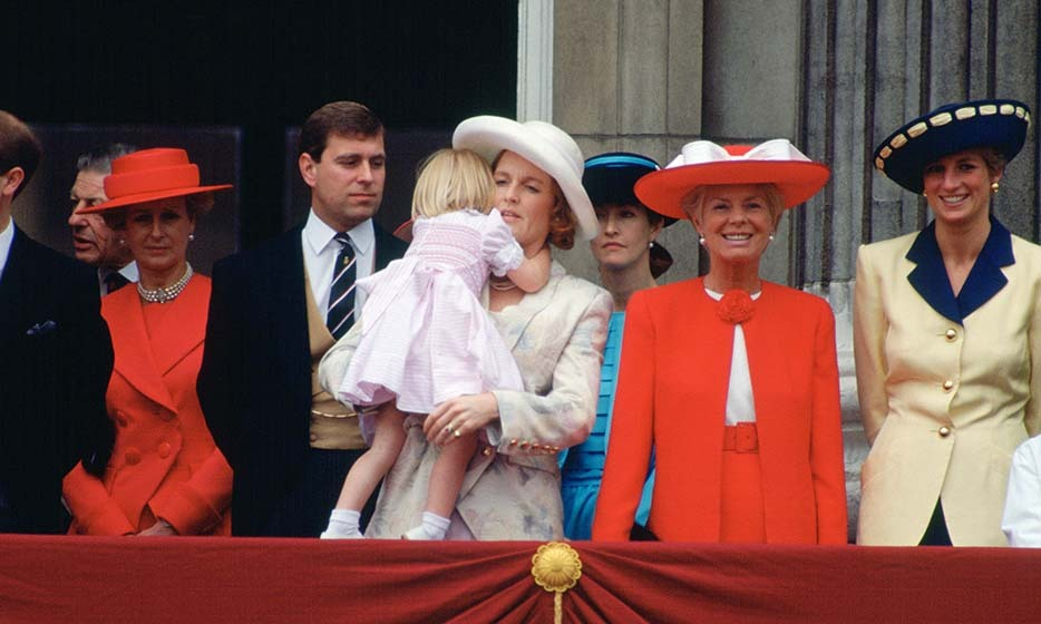 GREAT BRITAIN - JUNE 15: Members of the Royal Family on the balcony of Buckingham Palace for Trooping the Colour, Left to right : Prince Edward (Earl of Wessex), Sir Angus Ogilvy, Princess Alexandra, Prince Andrew (Duke of York), Princess Beatrice, Duchess of York, Duchess of Kent and Diana, Princess of Wales (Photo by Tim Graham/Getty Images)