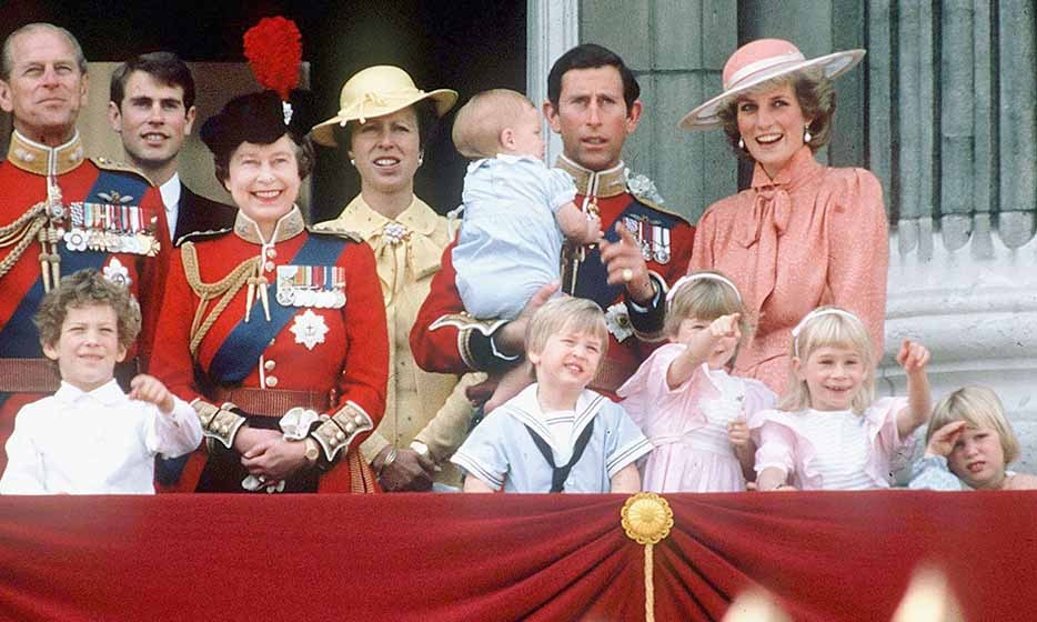 FILE PHOTO: LONDON, ENGLAND - JUNE 15, 1985: Princess Diana laughing along with Queen Elizabeth II and other members of the Royal Family on the balcony at Buckingham Palace for Trooping the Colour on 15 June, 1985 in London. (Photo by Tim Graham/Getty Images) *** Local Caption *** Princess Diana; Prince Charles; Queen Elizabeth II 1985 File Photo