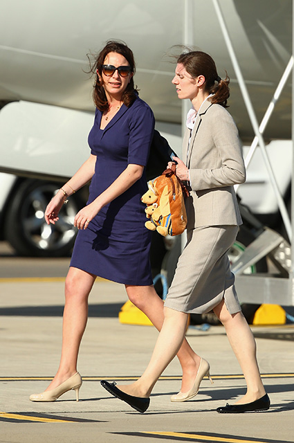 SYDNEY, AUSTRALIA - APRIL 16: Private Secretary to the Duchess of Cambridge Rebecca Deacon, and Nanny Maria Borrallo arrive at Sydney Airport on RAAF B737 on April 16, 2014 in Sydney, Australia. The Duke and Duchess of Cambridge are on a three-week tour of Australia and New Zealand, the first official trip overseas with their son, Prince George of Cambridge. (Photo by Ryan Pierse/Getty Images)