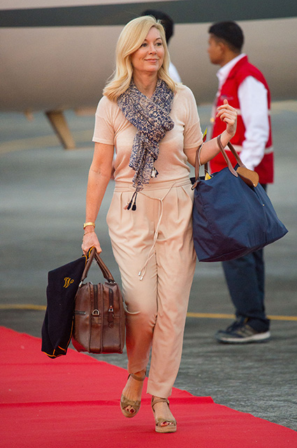 ASSAM, INDIA - APRIL 12: The Duchess of Cambridge's Hairdresser Amanda Cook Tucker arrives at Tezpur Airport on April 12, 2016 in Assam, India. The Duke and Duchess of Cambridge are on a week-long tour of India and Bhutan taking in Mumbai, Delhi, Assam, Bhutan and Agra. (Photo by Dominic Lipinski - Pool/Getty Images)
