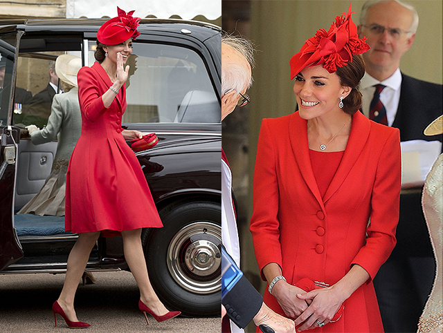 WINDSOR, UNITED KINGDOM - JUNE 13: Catherine, Duchess of Cambridge waves to the crowd as she arrives for the Order of The Garter Service at Windsor Castle on June 13, 2016 in Windsor, England. The annual service is held in St George's Chapel at Windsor Castle. (Photo by Matt Dunham/WPA Pool/Getty Images)