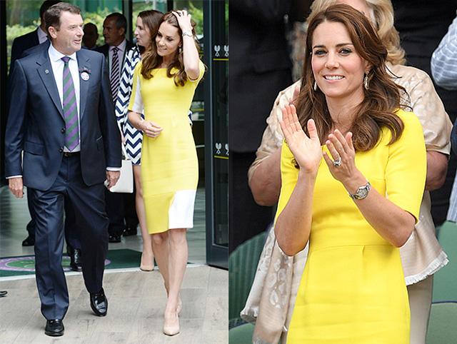 LONDON, ENGLAND - JULY 07: Catherine, Duchess of Cambridge attends day ten of the Wimbledon Tennis Championships at Wimbledon on July 07, 2016 in London, England. (Photo by Karwai Tang/WireImage)