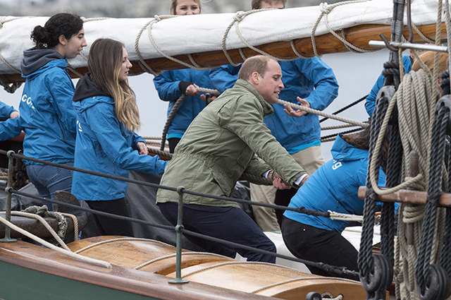 VICTORIA, BC - OCTOBER 01: Prince William, Duke of Cambridge on board the tall ship, Pacific Grace, before sailing with members of the Sail and Life Training Society at Victoria Inner Harbour on the final day of their Royal Tour of Canada on October 1, 2016 in Victoria, Canada. The Royal couple along with their Children Prince George of Cambridge and Princess Charlotte are visiting Canada as part of an eight day visit to the country taking in areas such as Bella Bella, Whitehorse and Kelowna (Photo by Arthur Edwards - Pool/Getty Images)