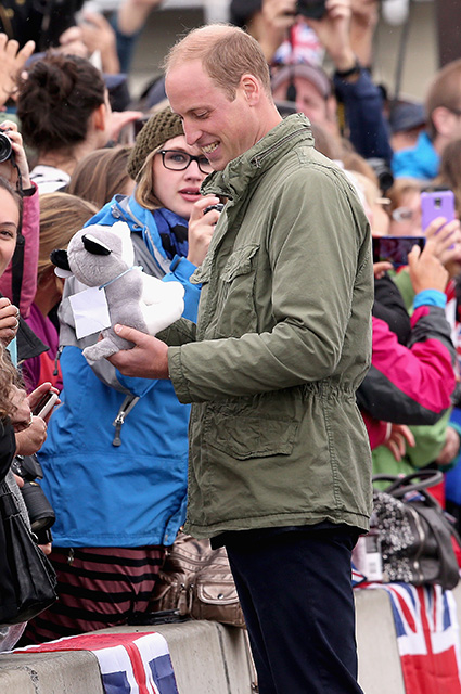 VICTORIA, BC - OCTOBER 01: Prince William, Duke of Cambridge is presented with a bear as he meets members of the Canadian public after disembarking the tall ship Pacific Grace in Victoria Harbour on the final day of their Royal Tour of Canada on October 1, 2016 in Victoria, Canada. The Royal couple along with their Children Prince George of Cambridge and Princess Charlotte are visiting Canada as part of an eight day visit to the country taking in areas such as Bella Bella, Whitehorse and Kelowna (Photo by Chris Jackson/Getty Images)
