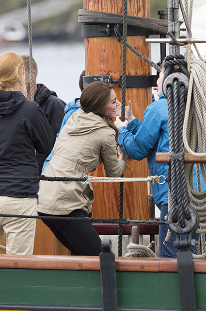 VICTORIA, BC - OCTOBER 01: Catherine, Duchess of Cambridge on board the tall ship, Pacific Grace, before sailing with members of the Sail and Life Training Society at Victoria Inner Harbour on the final day of their Royal Tour of Canada on October 1, 2016 in Victoria, Canada. The Royal couple along with their Children Prince George of Cambridge and Princess Charlotte are visiting Canada as part of an eight day visit to the country taking in areas such as Bella Bella, Whitehorse and Kelowna (Photo by Arthur Edwards - Pool/Getty Images)