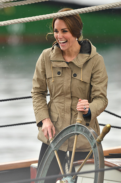 VICTORIA, BC - OCTOBER 01: Catherine, Duchess of Cambridge steers the tall ship, Pacific Grace, before sailing with members of the Sail and Life Training Society at Victoria Inner Harbour on the final day of their Royal Tour of Canada on October 1, 2016 in Victoria, Canada. The Royal couple along with their Children Prince George of Cambridge and Princess Charlotte are visiting Canada as part of an eight day visit to the country taking in areas such as Bella Bella, Whitehorse and Kelowna (Photo by Dominic Lipinski - Pool/Getty Images)