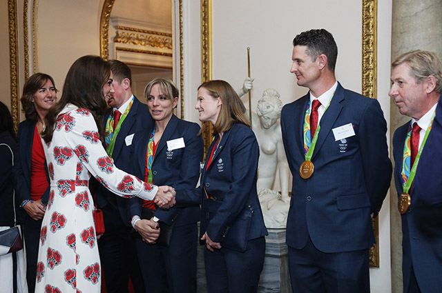 LONDON, ENGLAND - OCTOBER 18: Catherine, Duchess of Cambridge meets athletes at a reception for Team GB's 2016 Olympic and Paralympic teams hosted by Queen Elizabeth II at Buckingham Palace October 18, 2016 in London, England. (Photo by Yui Mok - WPA Pool /Getty Images)