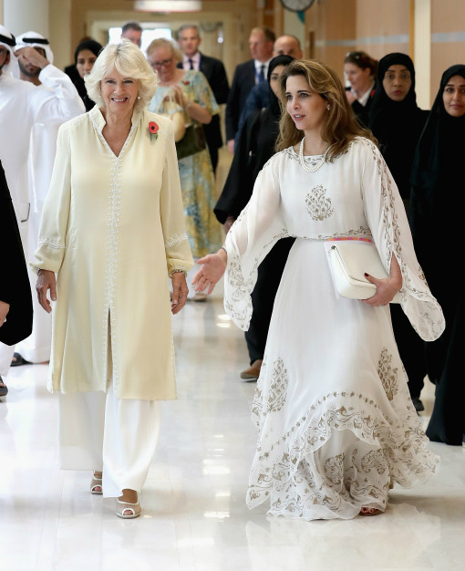 DUBAI, DUBAI - NOVEMBER 08: Camilla, Duchess of Cornwall and Princess Haya Bint Al Hussein on day 3 of a Royal tour of the United Arab Emirates at Al Jalila Children's Speciality Hospital on November 8, 2016 in Dubai, United Arab Emirates. Prince Charles, Prince of Wales and Camilla, Duchess of Cornwall are on a Royal tour of the Middle East starting with Oman, then the UAE and finally Bahrain. (Photo by Chris Jackson - Pool/Getty Images)