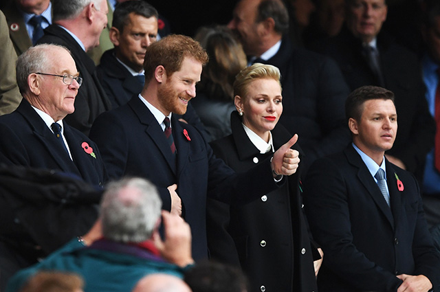 LONDON, ENGLAND - NOVEMBER 12: Prince Harry (2nd L) and Princess Charlene of Monaco (2nd R) are seen in the stand prior to the Old Mutual Wealth Series match between England and South Africa at Twickenham Stadium on November 12, 2016 in London, England. (Photo by Shaun Botterill/Getty Images,)