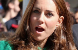 Kate, Duchess of Cambridge, watches as Mark Cavendish falls from his bike near the finish line of Stage 1 of the Tour De France Saturday, July 5, 2014 in Harrogate, England. The world's greatest cycle race, the Tour de France started for the first time in its history in Yorkshire this weekend. The event is expected to bring thousands of cycling fans to the region.  (AP Photo/Chris Jackson, Pool)