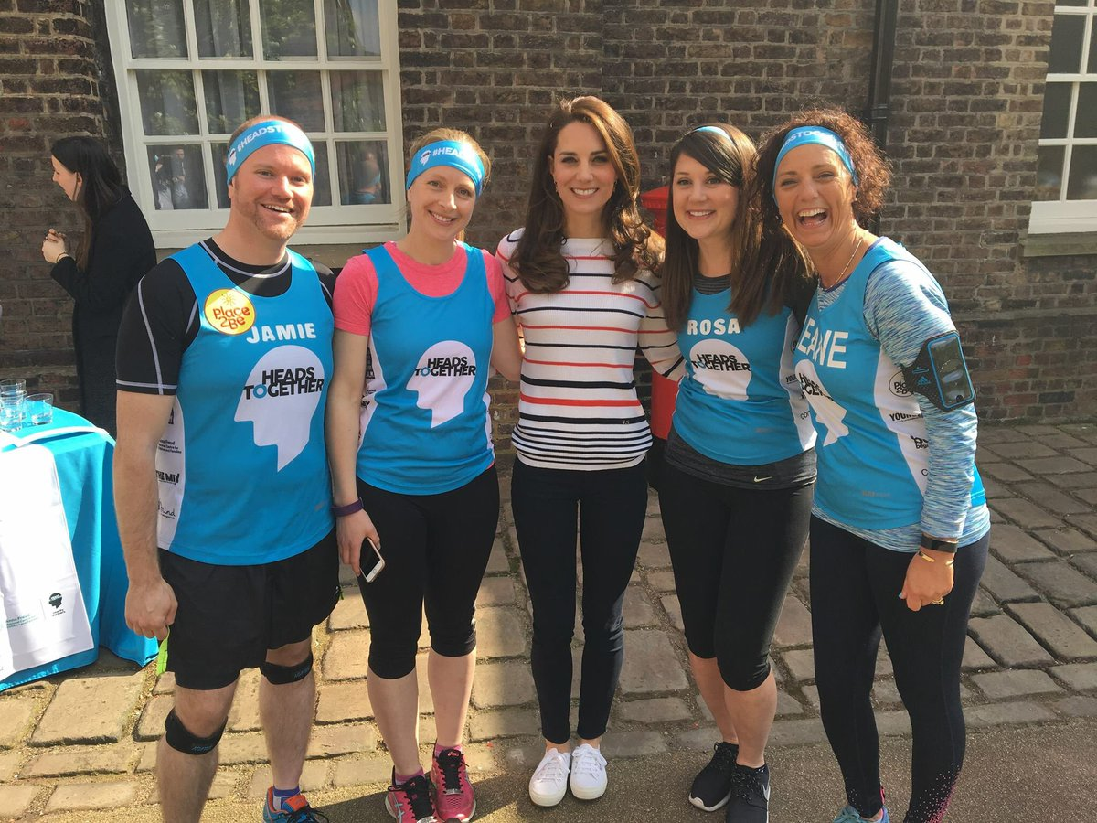 Кейт Миддлтон повстречалась с атлетами от Heads Together перед Лондонским марафоном