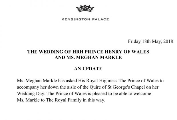 Меган Маркл к алтарю поведет принц Чарльз