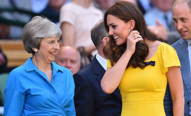 Кейт Миддлтон в желтом платье с принцем Уильямом на финале Уимблдона