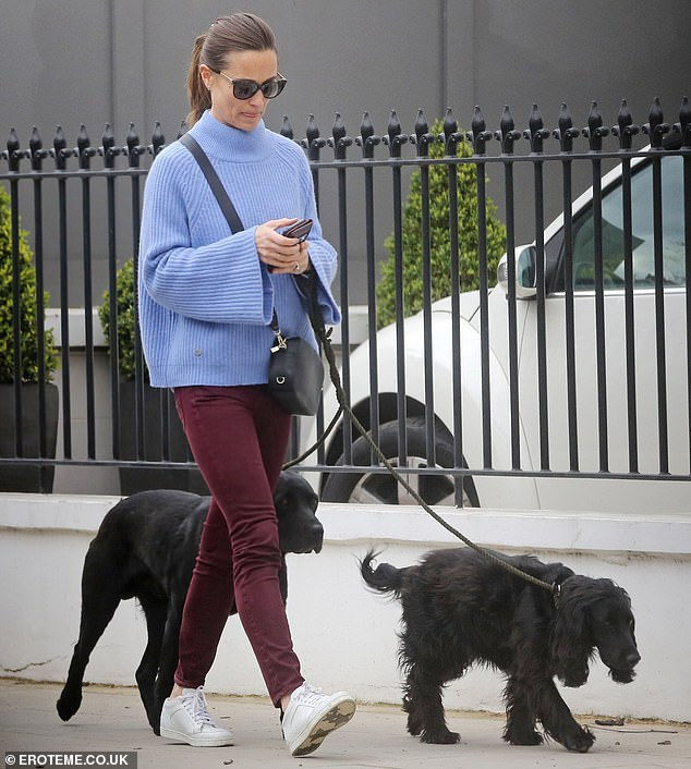 Сетра Кейт Миддлтон в голубом свитере вышла на прогулку