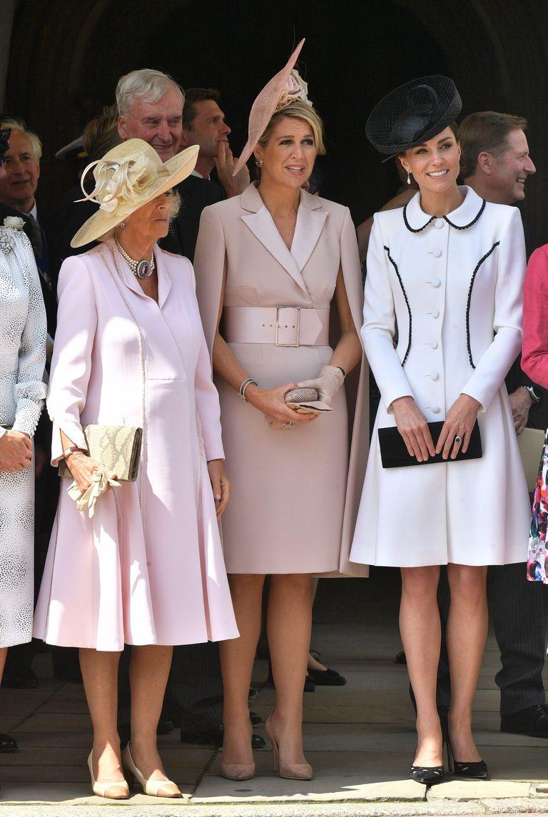 Кейт Миддлтон с королевами Летицией и Максимой на церемонии Ордена Подвязки