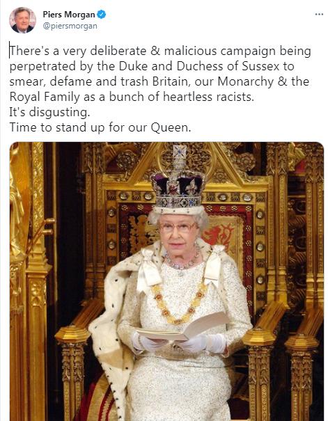 Телеведущий Пирс Морган призвал британцев встать на защиту Королевы от принца Гарри и Меган Маркл