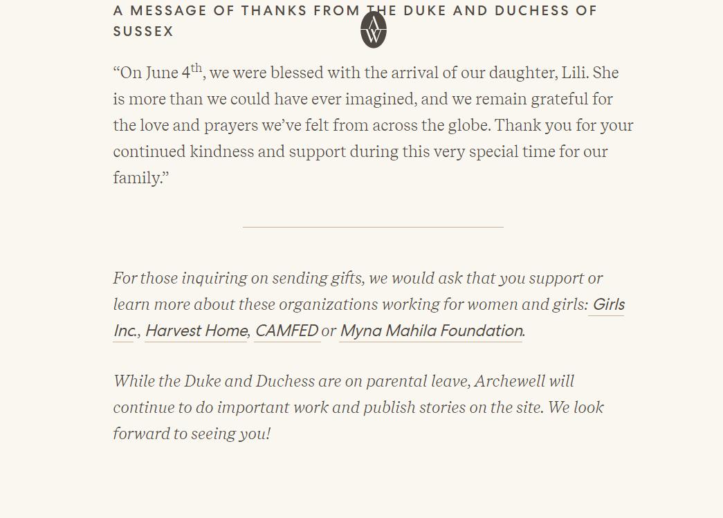 Принц Гарри и Меган Маркл опубликовали благодарственное послание на официальном сайте Archewell
